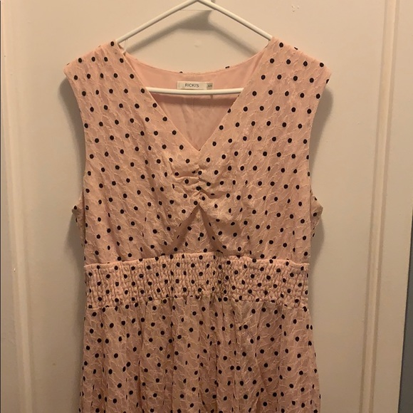 Pale pink lace dress with black polka dots